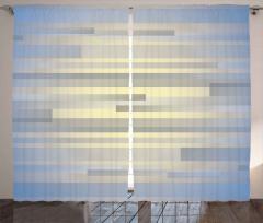Gri Mavi Şerit Desenli Fon Perde Modern
