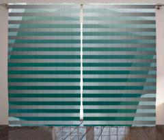 Yeşil Gri Şerit Desenli Fon Perde Dekoratif