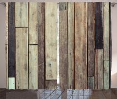 Ahşap Duvar Temalı Fon Perde Kahverengi Trend