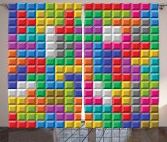 Tetris Desenli Fon Perde Rengarenk Kare Geometrik