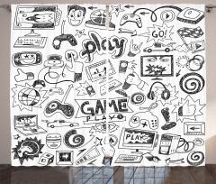 Bilgisayar Oyunu Temalı Fon Perde Siyah Beyaz