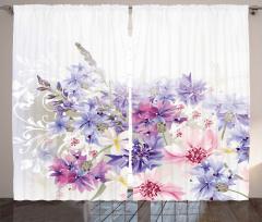 Pembe ve Mor Çiçek Fon Perde Çeyizlik Şık