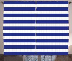 Mavi Beyaz Çizgili Fon Perde Dekoratif Çeyizlik