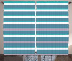 Şık Çizgili Desenli Fon Perde Mavi Yeşil Beyaz