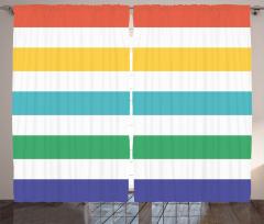 Rengarenk Çizgili Desen Fon Perde Şık Tasarım