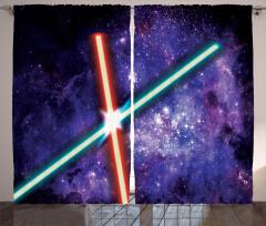 Uzay Temalı Fon Perde Mor Işın Kılıcı Desenli