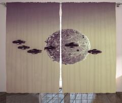 UFO İstilası Temalı Fon Perde Bej Dünya Uzay Şık
