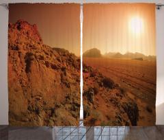 Kayalık Manzaralı Fon Perde Kahverengi Yol Güneş