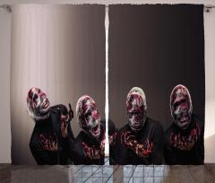 Korku Temalı Fon Perde Kahverengi Kan Gerilim