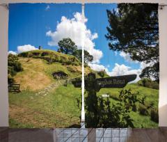 Hobbit Köyü Temalı Fon Perde Yeşil Mavi Bulut