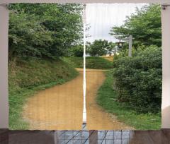 Yeşil Yol Temalı Fon Perde Doğa Ağaç Şık Tasarım
