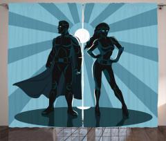 Süper Kahraman Temalı Fon Perde Kadın Erkek Şık