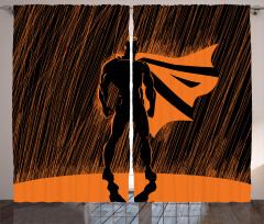 Süper Kahraman Temalı Fon Perde Turuncu Siyah Şık
