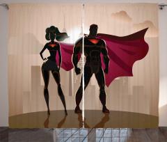 Süper Kahraman Temalı Fon Perde Kadın Erkek Bej