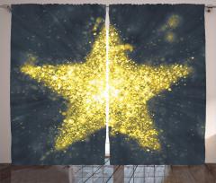 Altın Yıldız Desenli Fon Perde Sarı Parlak Şık
