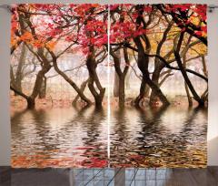 Ağaç ve Nehir Manzaralı Fon Perde Kahverengi Doğa