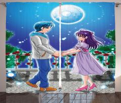 Çizgi Aşıklar Temalı Fon Perde Romantik Mavi Şık