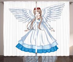 Melek Kız Desenli Fon Perde Çocuk İçin Beyaz Mavi