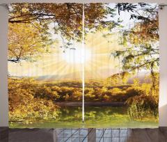 Orman ve Güneş Temalı Fon Perde Sarı Ağaç Şık