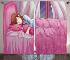 Uyuyan Kız Temalı Fon Perde Anime Etkili Pembe