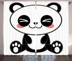 Sevimli Panda Temalı Fon Perde Siyah Beyaz Şık