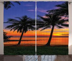 Gün Batımı Temalı Fon Perde Palmiye Turuncu Deniz