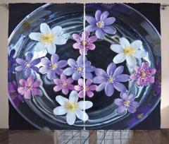 Mor Çiçek Temalı Fon Perde Doğa Çeyizlik Trend