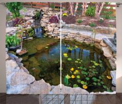 Su ve Yaprak Temalı Fon Perde Doğa Taş Şık Tasarım