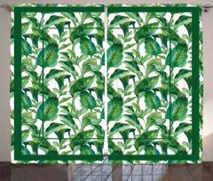 Yeşil Yaprak Desenli Fon Perde Dekoratif Şık