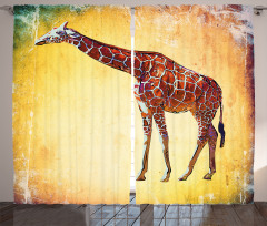 Zürafa Desenli Fon Perde Sarı Kahverengi Trend
