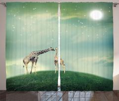 Gökyüzü ve Zürafa Fon Perde Yeşil Trend