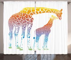 Anne ve Yavru Zürafa Fon Perde Turuncu Şık