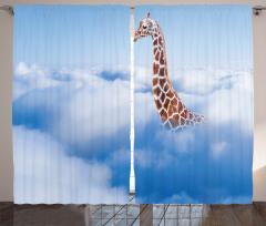 Buluttaki Zürafa Fon Perde Mavi Kahverengi