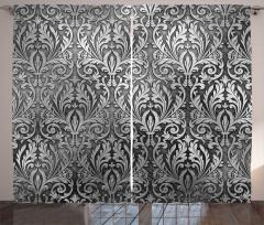Gri Siyah Çiçek Desenli Fon Perde Gümüş Trend