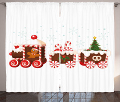 Noel Treni Desenli Fon Perde Kırmızı Şeker Çörek