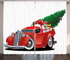 Noel Temalı Fon Perde Kırmızı Kamyonet Ağaç Şık