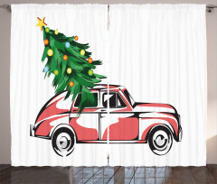 Araba ve Yılbaşı Ağacı Fon Perde Kırmızı