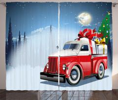 Noel Kamyonu Temalı Fon Perde Mavi Kırmızı Ağaç