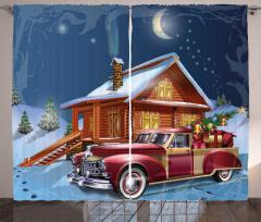 Noel Gecesi Temalı Fon Perde Kulübe Hediye Kırmızı