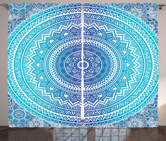 Şık Çiçek Desenli Fon Perde Mavi Beyaz Çeyizlik