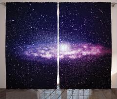 Uzay ve Yıldızlar Fon Perde Mor Siyah Şık