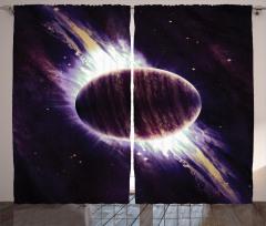 Mor Gezegen Desenli Fon Perde Uzay Temalı Şık