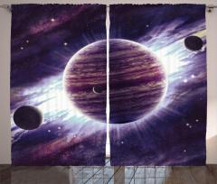 Gezegen Temalı Fon Perde Uzay Mor Evren Trend