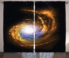 Uzay Temalı Fon Perde Sarı Siyah Şık Tasarım Evren