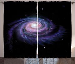 Samanyolu Temalı Fon Perde Mor Siyah Uzay Trend
