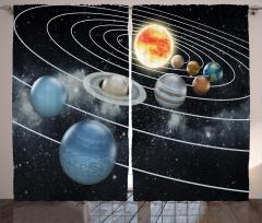 Güneş Sistemi Temalı Fon Perde Gezegenler Siyah