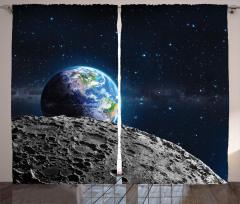 Dünya ve Ay Desenli Fon Perde Uzay Temalı Gri Şık