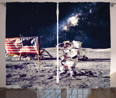 Ay'daki Astronot Temalı Fon Perde Gri Lacivert Şık