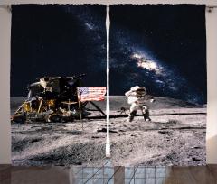 Ay ve Astronot Temalı Fon Perde Gri Lacivert Şık