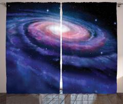 Samanyolu Temalı Fon Perde Lacivert Uzay Trend